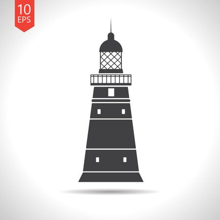 lighthouse keeper: Vector flat lighthouse icon  on white background. Eps10