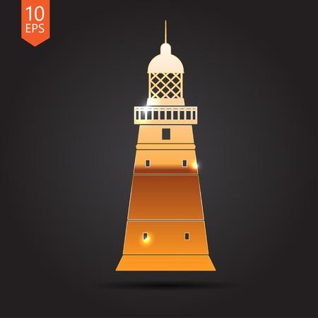 lighthouse keeper: Vector gold lighthouse icon on dark background. Eps10 Illustration