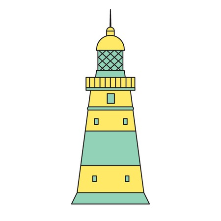 lighthouse keeper: Vector flat lighthouse icon outline style. Eps10