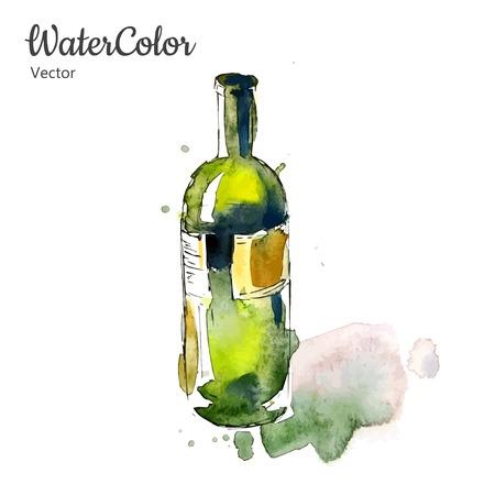Vector hand painting watercolor illustration of wine bottle. Eps10 Иллюстрация