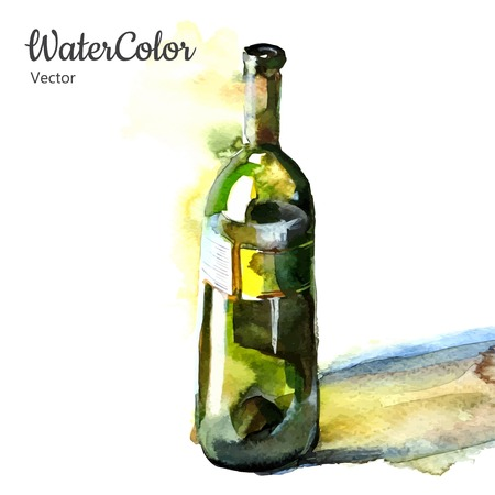 wine tasting: Vector hand painting watercolor illustration of wine bottle.