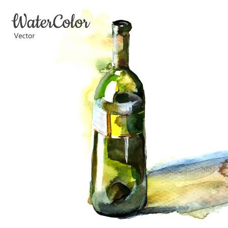 Vector hand schilderij aquarel illustratie van een fles wijn. Stock Illustratie