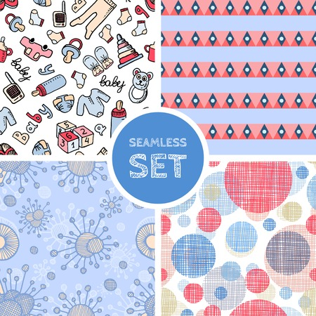 Vector set of four seamless background Vector