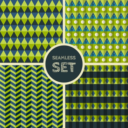 square shape: Vector set of four seamless background