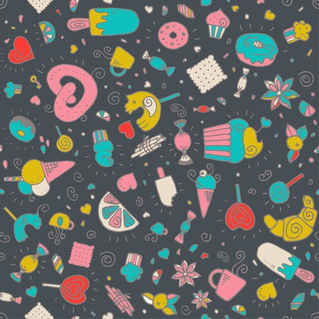 baked goods: Vector seamless pattern with desserts