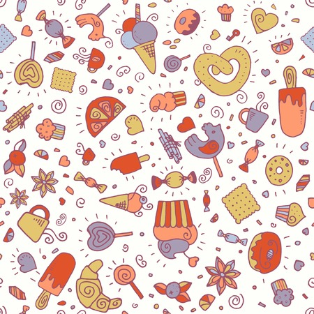 Vector seamless pattern with desserts Vector