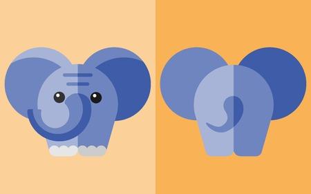 grosse fesse: Vecteur animaux plat. Elephand ic�ne avec le dos. Zoo plat. Eps10 Illustration