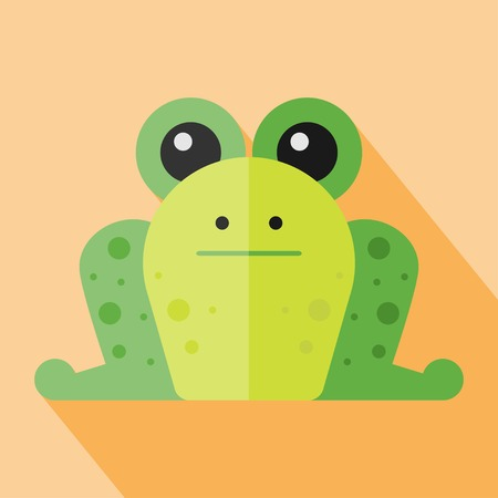 zoo amphibian: Vector flat animal. Frog icon. Flat zoo. Eps10