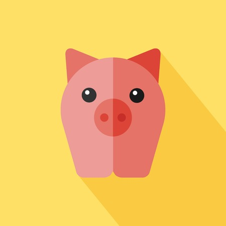 oink: Vector flat animal. Pig icon. Flat zoo. Eps10