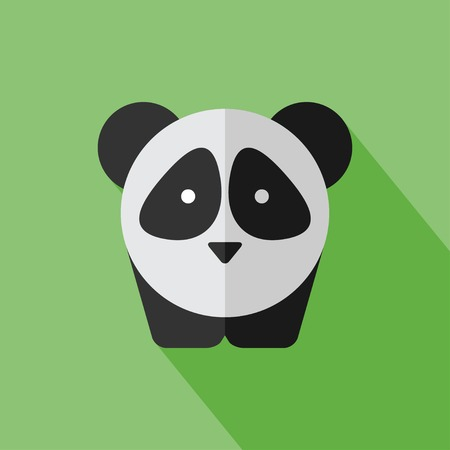 Vector flat animal. Panda icon. Flat zoo. Eps10 Çizim