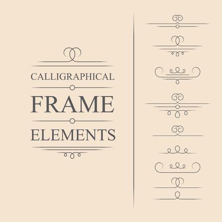 Vector calligraphic frame elements. Decorative elements. Eps10 Illustration