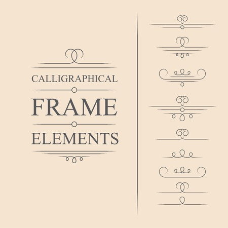 Vector calligraphic frame elements. Decorative elements. Eps10 Illustration