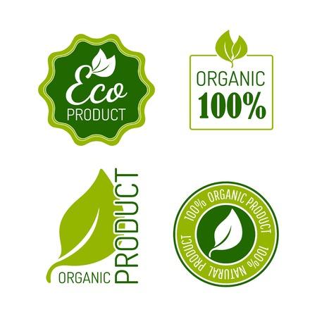 Vector set van pictogrammen voor biologische voeding en natuurlijke producten. Eps10 Stock Illustratie