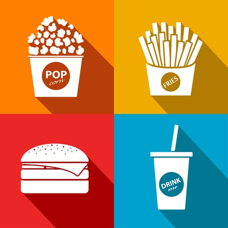 movie and popcorn: Vector fast food flat icon set. Eps10 Illustration