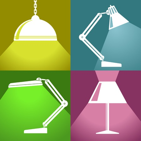 electrolier: Vector flat isolate lamp icons set. Eps10