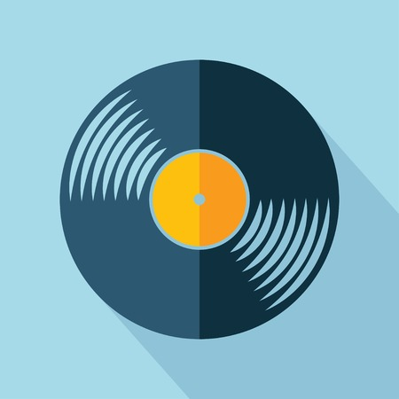 Vector retro color vinyl record icon.  Illustration