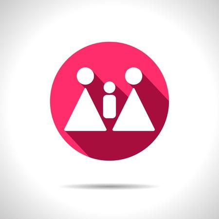 homosexual: Vector homosexual family flat pink icon.