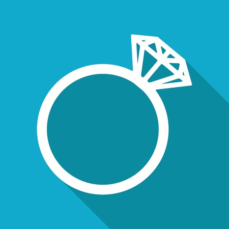 Vector flat wedding ring icon isolated on blue background.