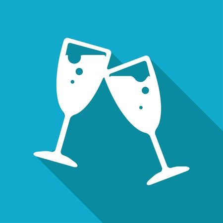 festive occasions: Vector flat stemware icon isolated on blue background.