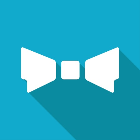 neck tie: Vector flat bow-tie icon isolated on blue background. Illustration