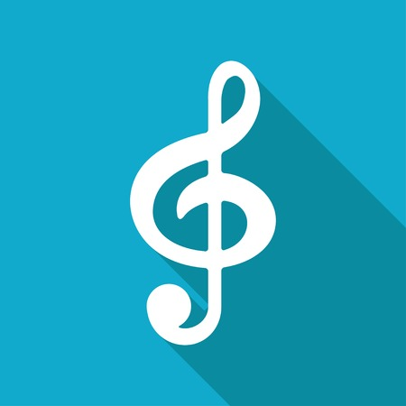 eight note: Vector flat music icon isolated on blue background.