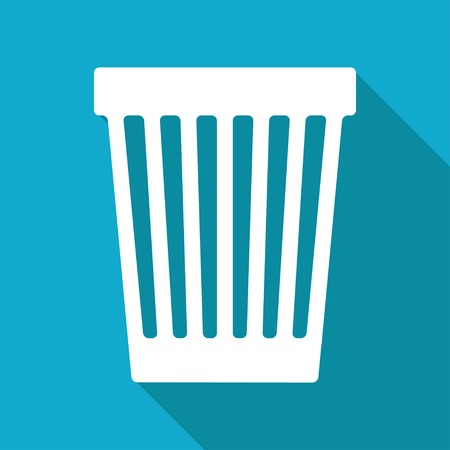 Vector flat basket icon isolated on blue background. Vector