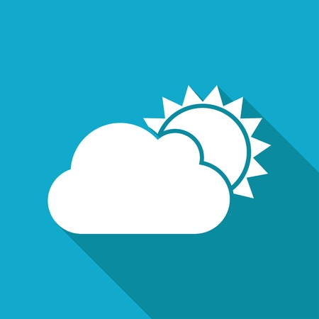 cloudiness: Vector flat cloudiness icon isolated on blue background.