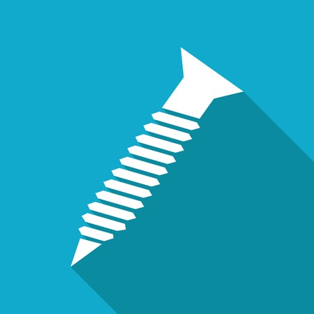 construction industry: Vector flat screw icon isolated on blue background.