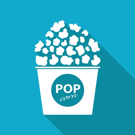 Vector flat pop corn icon isolated on blue backgrond.