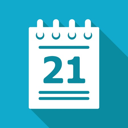 Vector flat calendar icon isolated on blue background.