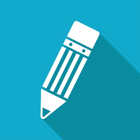 eraser mark: Vector flat pencil icon isolated on blue background