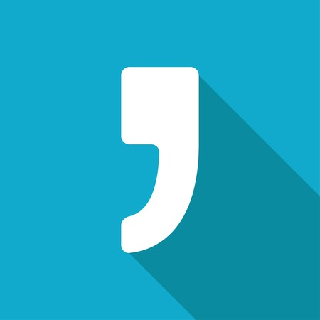 and comma: Vector flat comma icon isolated on blue. Illustration
