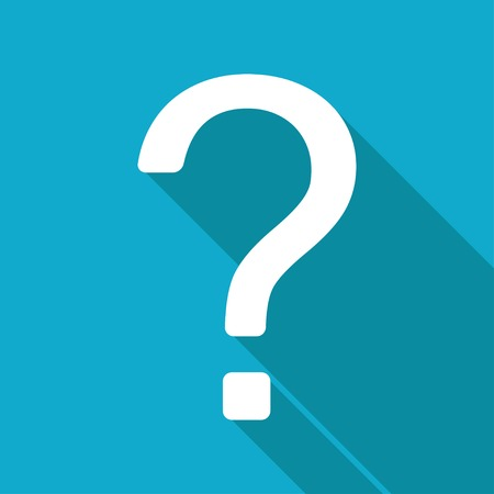 Vector flat flat question mark icon isolated on blue. Çizim