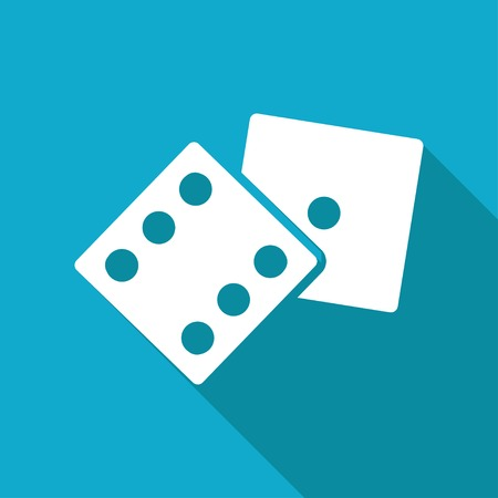 Vector flat dice icon isolated on blue background