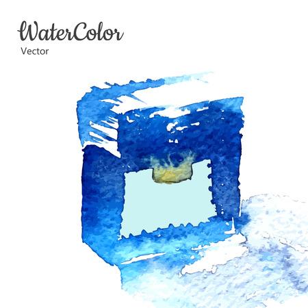 Vector hand painting watercolor illustration of perfume bottle. Çizim