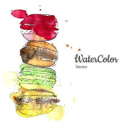 Vector hand painting ala prima abstract watercolor macaroon dessert illustration.