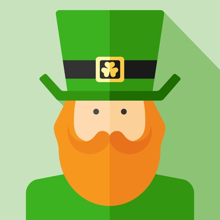 clover face: Vector flat irish man. Saint Patricks day.