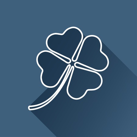 clover icon: flat clover icon  isolated outline.  Illustration