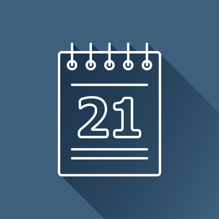 flat calendar icon isolated outline.