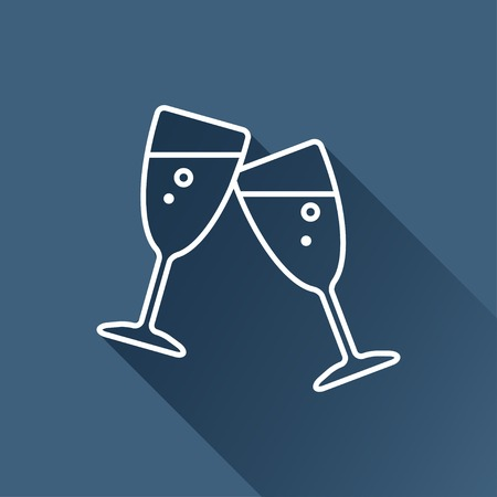 stemware: flat stemware glass icon isolated outline.