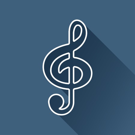 eight note: white music flat icon outline.