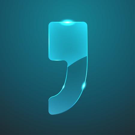 comma: Vector glass comma icon