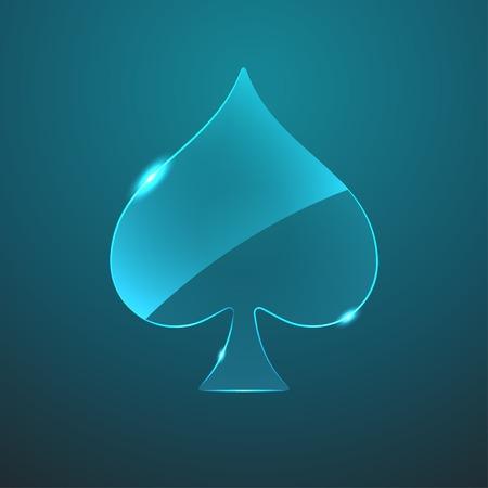 card game: Vector glass game spade icon