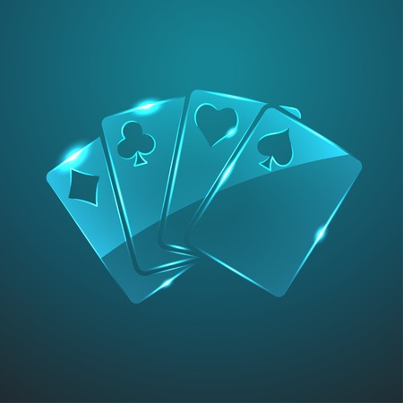 game cards: Vector glass game cards icon Illustration