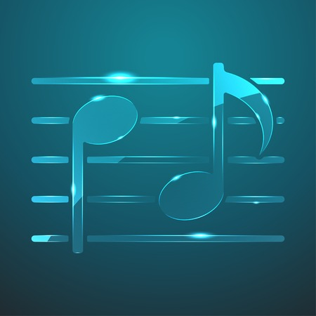 eight note: Vector glass music icon Illustration