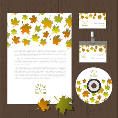 autumn leafs: Vector corporate identity template with autumn leafs. Business card, disc, document, badge. Eps10