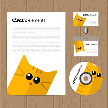 business cards: Vector corporate identity template with cat. Business card, disc, document, badge. Eps10 Illustration