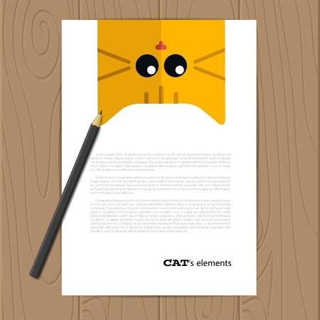 gato caricatura: Vector plantilla de identidad corporativa con el gato. Eps10