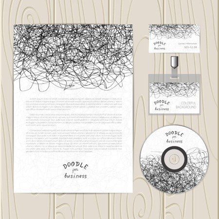 Vector corporate identity template with  chaotic doodles. Business card, disc, document, badge .  Vector