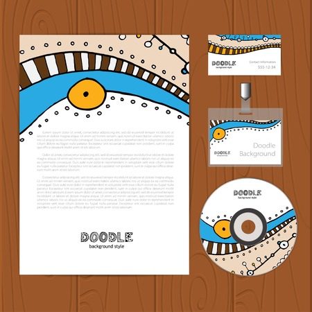 bage: Vector corporate identity template with cartoon elements. Business card, disc, document, bage.   Illustration